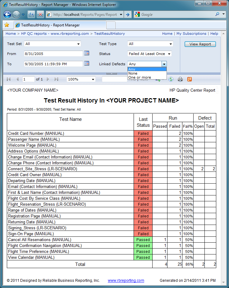 Test Result History report